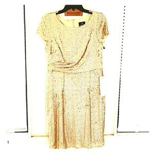 New Adriana Papell Gold Sequin Cocktail Dress